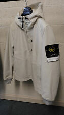 Stone Island Waxed Soft Leather Hooded Jacket In Ivory BNWT