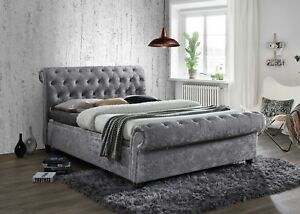 Black Brown Grey Crush Velvet Chesterfield Bed Frame