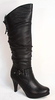 Women's  Round Toe High Heel Platform Mid-Calf  Knee High Boots Shoes Size 5 -10