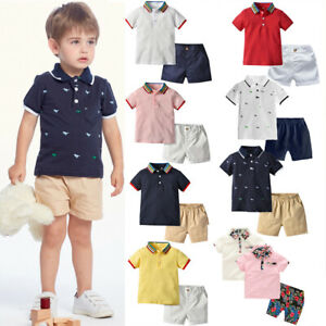 Toddler Newborn Baby Boys Clothes Gentleman Polo T-Shirt Tops+Shorts Outfits Set