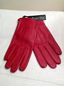 f5bbaf4f95274 NEW Ladies Vecci HOLIDAY RED Fine Nappa LEATHER Lined Gloves Medium ...