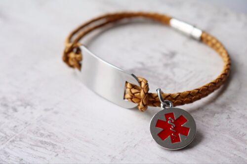 Salvar la vida de alerta médicas sos Grandes Identificador Bar Pulsera De Cuero cualquier mensaje