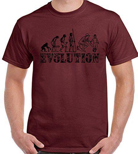 Herren Lustiges T-Shirt Vatertag Dad Daddy Fußball Evolution Vater und Sohn