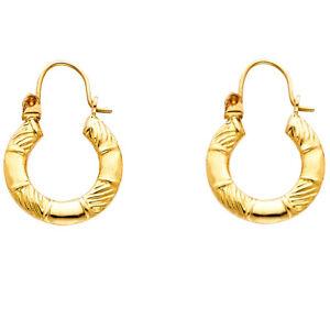 280537ca4 Women Child Real 14K Yellow Gold Dangle Vintage Oval Hoop Earrings ...