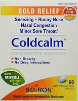 6 Pack- Boiron Coldcalm Natural Homeopathic Tablets 60 Each on sale