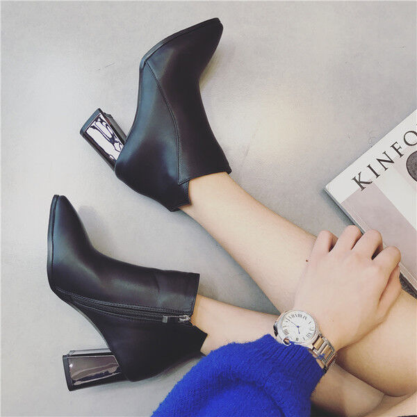 botas negro bajo tobillo 7 cm negro botas mode elegantes como piel 9532 be2bc3