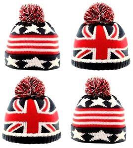 Infantil-Bebes-Britanico-Union-Jack-GB-amp-Us-Flag-Gorro-con-Pompon-de-punto-1-6
