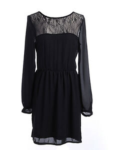 USA-S-M-Fit-Black-Delicate-Floral-Lace-Yoke-Bishop-Sleeves-Low-Back-Dress