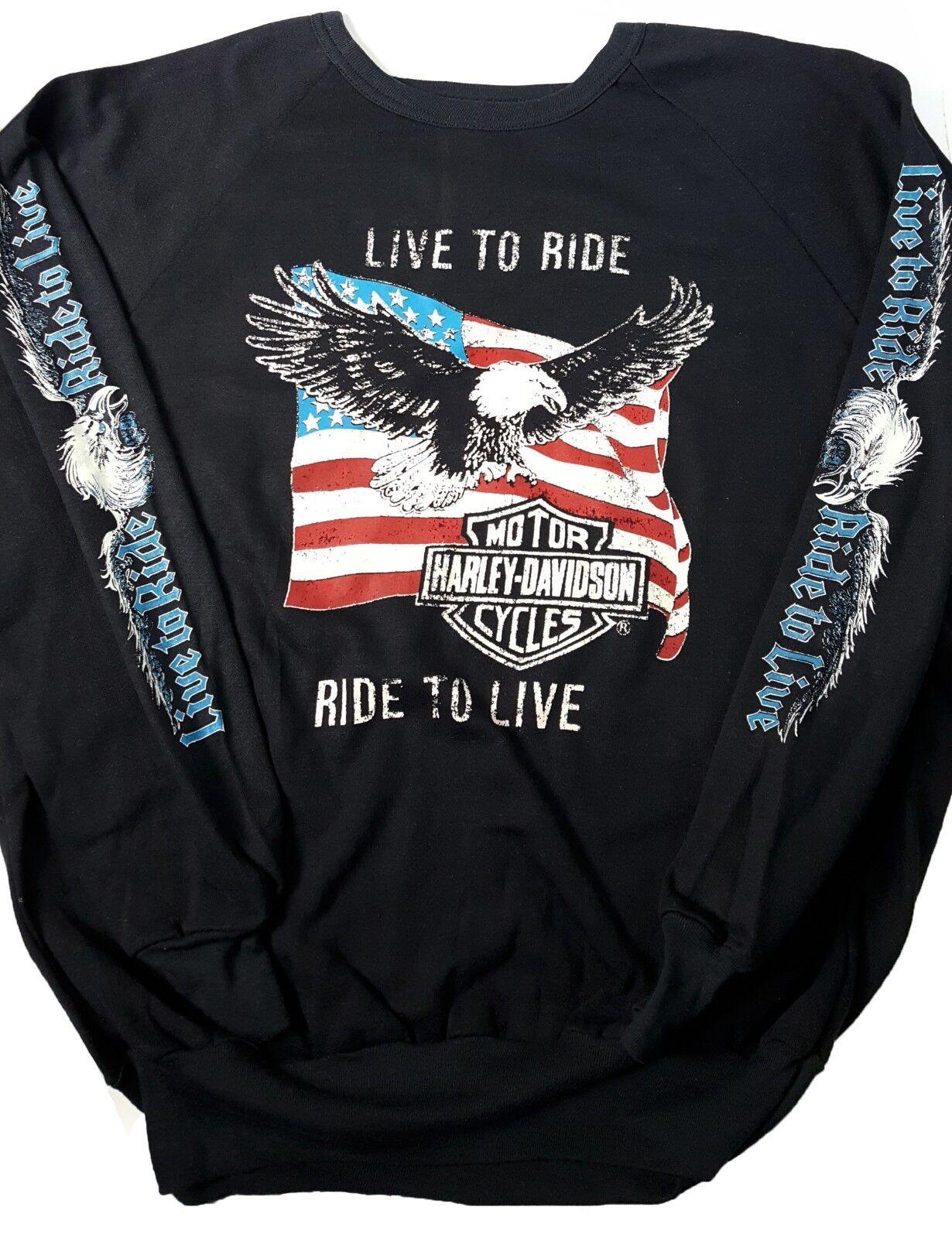 f380df9195e87c VTG Harley Davidson L M Live To Ride Double Sided Sweatshirt US Flag Eagle