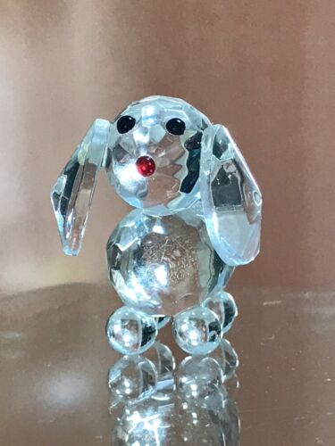 CRYSTAL STANDING DOG WITH RED NOSE with BOX