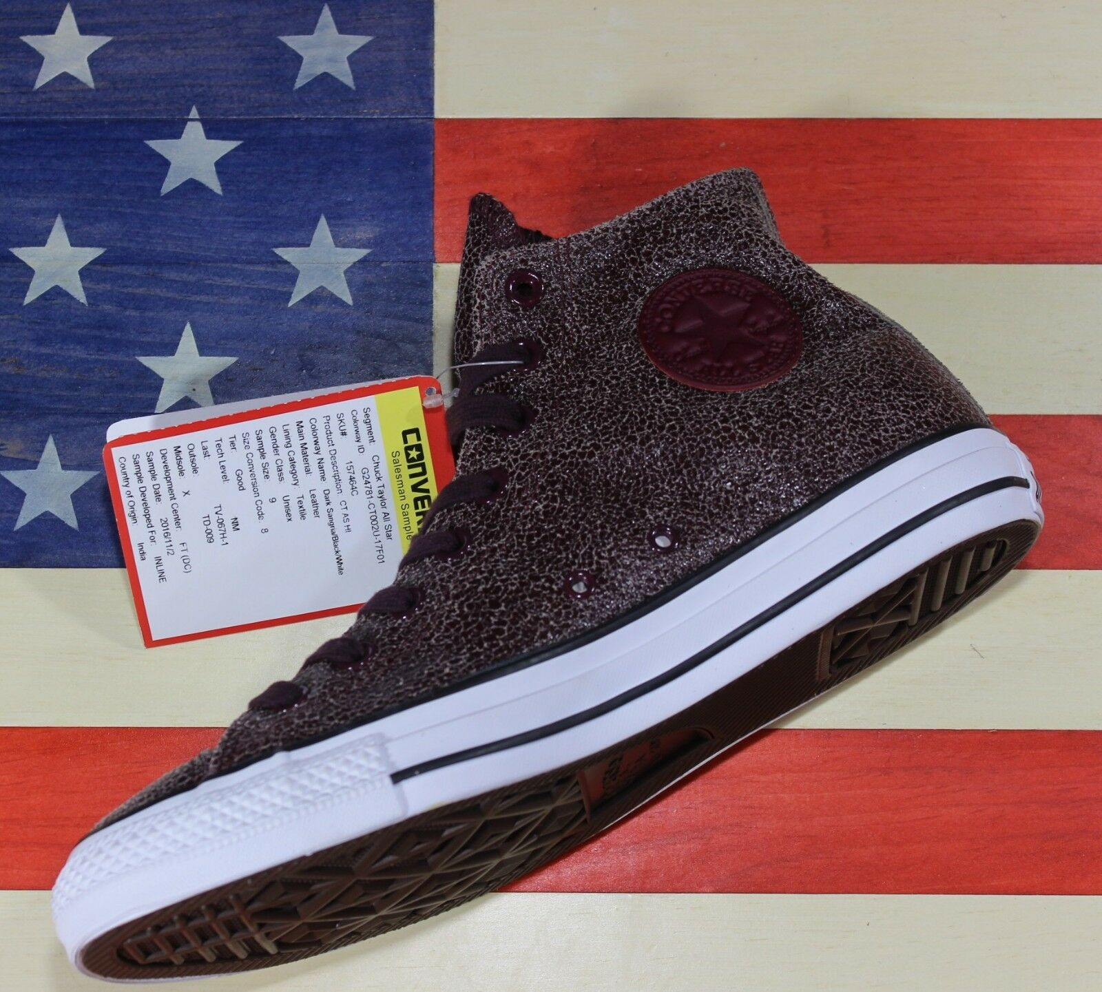 CONVERSE UNRELEASED SAMPLE Cracked Chuck Taylor ALL-STAR HI Cracked SAMPLE Sangria vtg 157464C 44f02f
