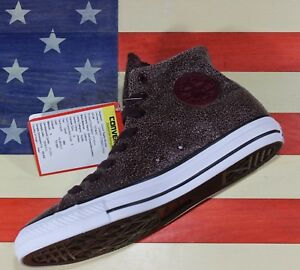 CONVERSE-UNRELEASED-SAMPLE-Chuck-Taylor-ALL-STAR-HI-Cracked-Sangria-vtg-157464C