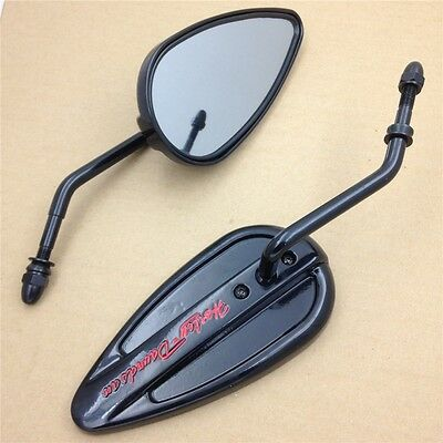 Black Teardrop Mirror For Harley XLX XR FLH FLHS Tour Glide Classic FLTC