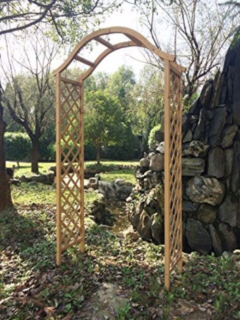 Arch Wooden Garden Pergola Arbour Trellis Rose Archway Natural Tan Wood Timber
