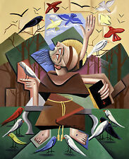 SAINT FRANCIS OF ASSISI SERMON TO THE BIRDS JESUS ORIGINAL PAINTING  FALBO