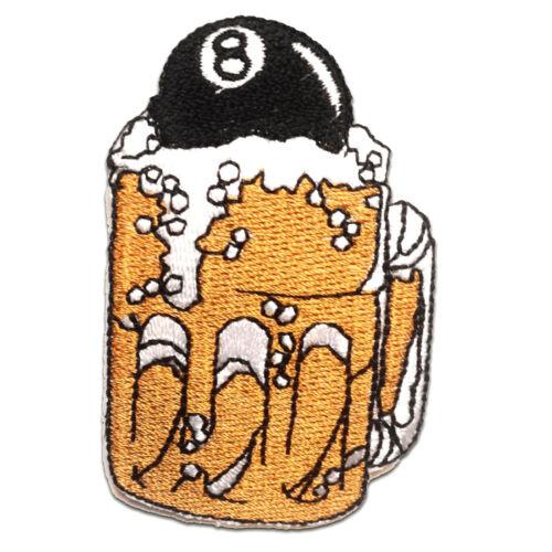Aufnäher // Bügelbild 4.5 x 7.5 cm gold Patches Aufbügeln Bier Billard