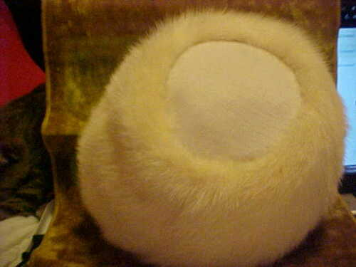Vintage MISS ALICE, White Mink Fur Pill Box Hat 19