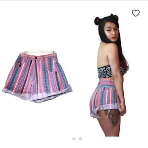 Soft Grunge Clothing 90s Bohemian Festival Clothing Vintage 90s Boho Shorts with Paper Bag Waist Baggy 90s High Waisted Shorts