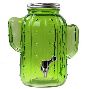 4l large green glass cactus dispenser jar drink cocktail with tap
