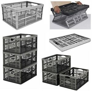 Image Is Loading Strong Folding Collapsible Plastic Storage  Crates Boxes Stackable