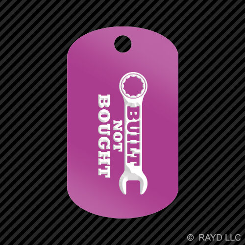 Built Not Bought Keychain GI dog tag engraved many colors jdm