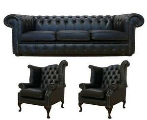 Details about Chesterfield 3 Seater +Wing + Wing Chair Black Leather Sofa  Settee Suite