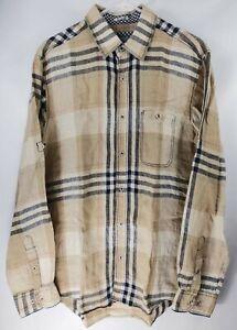 Bugatchi-Men-039-s-Shaped-Fit-Button-Front-Shirt-Linen-Plaid-Khaki-Beige