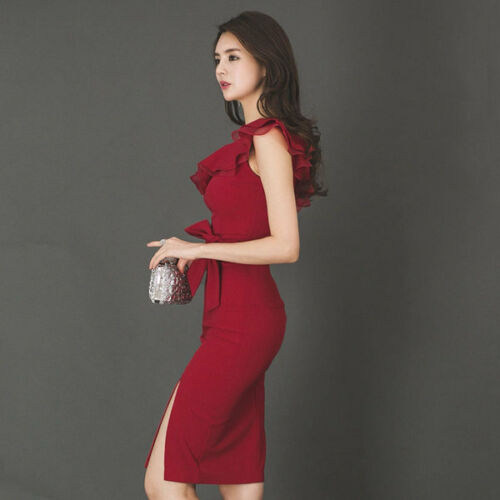 102cae5e6068 Vestitino Abito Evento Moda Morbido Slim Tubino Rosso Lungo 4609 Elegante  76fYbyg