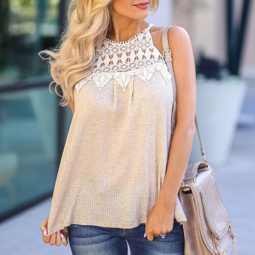 Womens Ladies Lace Crochet Halter Vest Tank Cami Tops Shirt Casual Office Blouse
