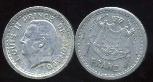 MONACO  1  franc 1943   alu etat