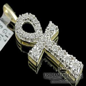 Unisex-10K-100-Real-Yellow-Gold-Ankh-Cross-Genuine-Diamond-Charm-Pendant-0-16ct