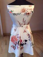 New Boohoo Off The Shoulder Floral Skater Dress Size 14