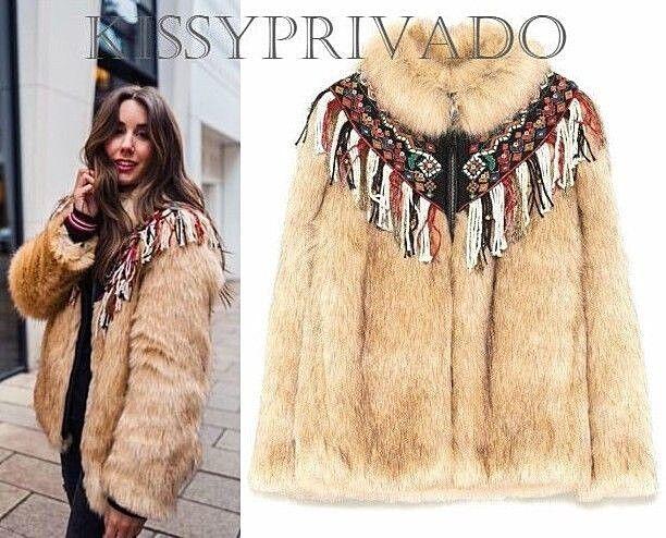 ZARA Ecru Embroidered Fringed Faux Fur Coat S BNWT