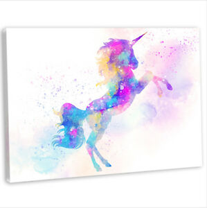 Details About Unicorn Canvas Print Framed Animal Painting Wall Art Picture