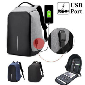 Anti-Theft Laptop Backpack Travel Bag Water Repellent USB Port Travel School