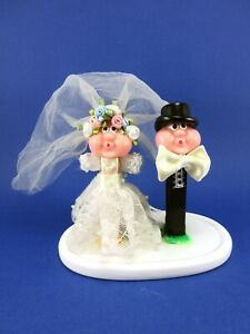 VINTAGE OOAK PEZ BUBBLE MAN FANTASY BRIDE GROOM WEDDING CAKE TOPPER DRESS TUXEDO