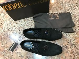 100-AUTHENTIC-ROBERTO-CAVALLI-SLIP-ON-LOAFERS-BLACK-SUEDE-SIZE-10-5-US-NEW