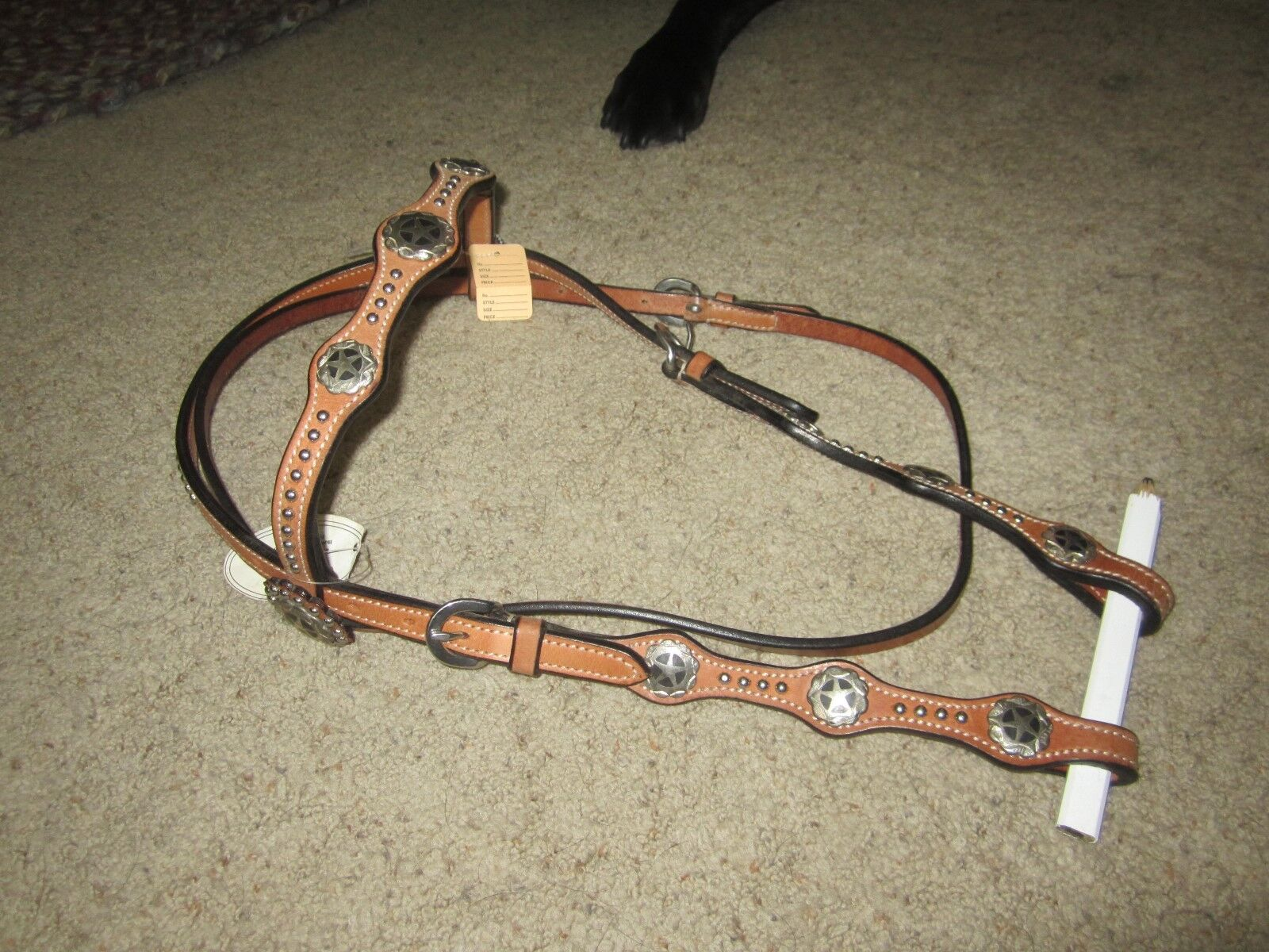 Gorgeous TOP QUALTIY HEADSTALL WITH STUDS AND STAR CONCHOS, maker marked