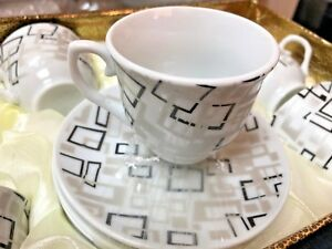 Porcelain turkish Arabic   //espresso Coffee  set 12 pieces silver  2.5 oz