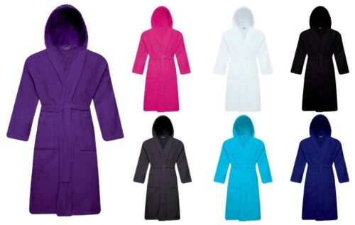 Unisex 100/% Cotton Terry Toweling Hooded Bath Robe Dressing Gown Soft /& Cozy