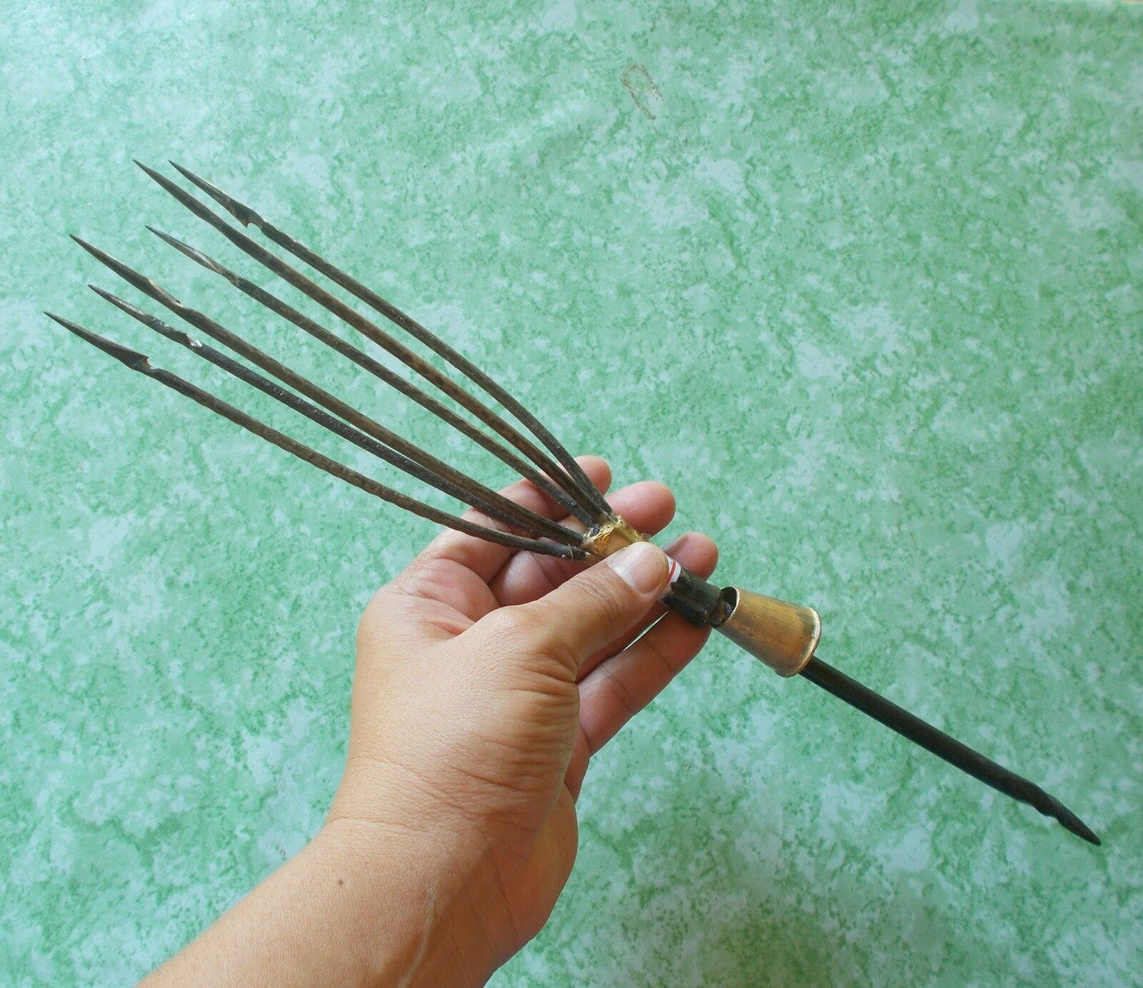 Harpoon Gaff Spear 6 Prongs 6.5  Barbed Thai  Primitive Fishing Iron Steel Frog  online outlet sale