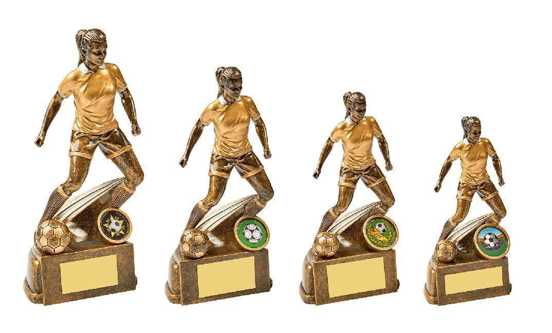 4 x Female Girls Football Trophy Awards engraved + postage free (RRP )