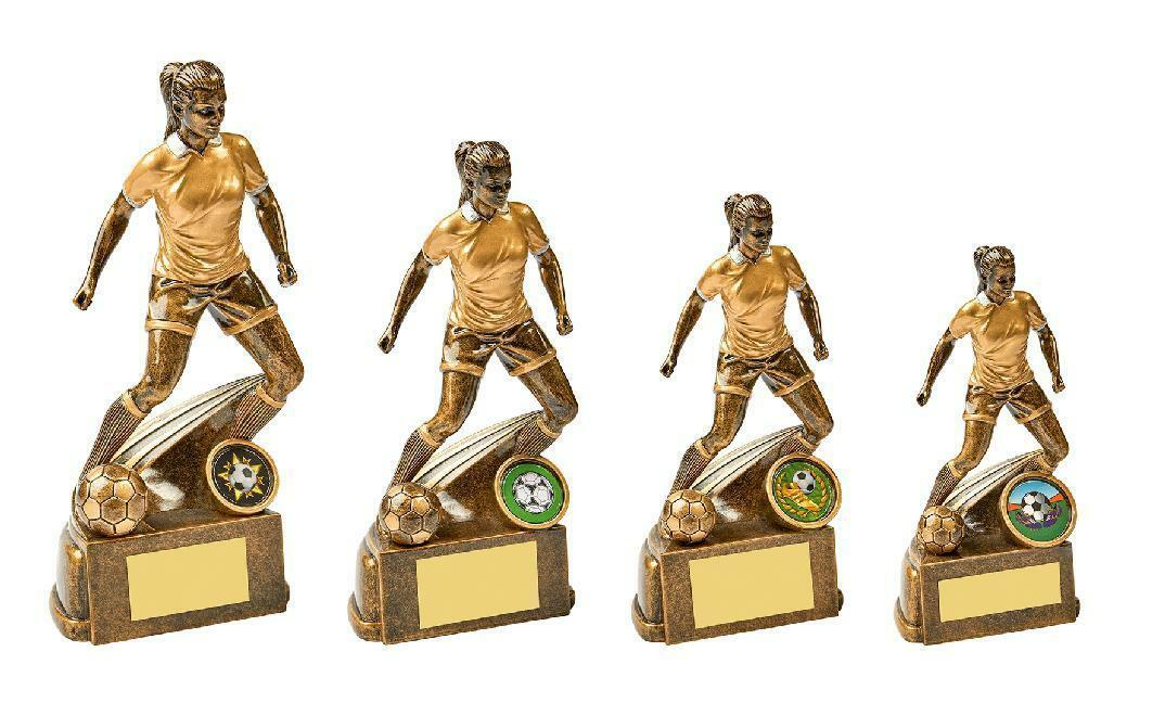 4 x Female Girls Football Trophy Awards engraved + postage free (RRP .80)
