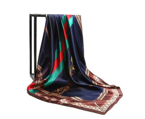 """Women/'s Black/&Gold Print Hijab Scarf Silk-Satin Square Head Shawl Scarfs 35/""""*35/"""""""