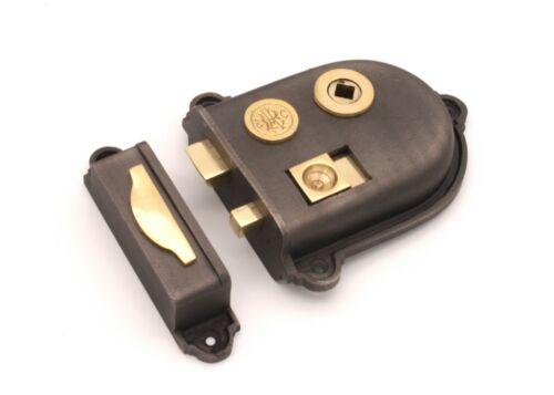 Old Vintage CROMWELL Style Cast Iron /& Brass Bedroom Bathroom Rim Latch Lock Set