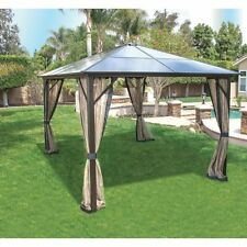 Pacific Casual Black Hardtop 12 X 10 Foot Gazebo With Sheer Mosquito Netting