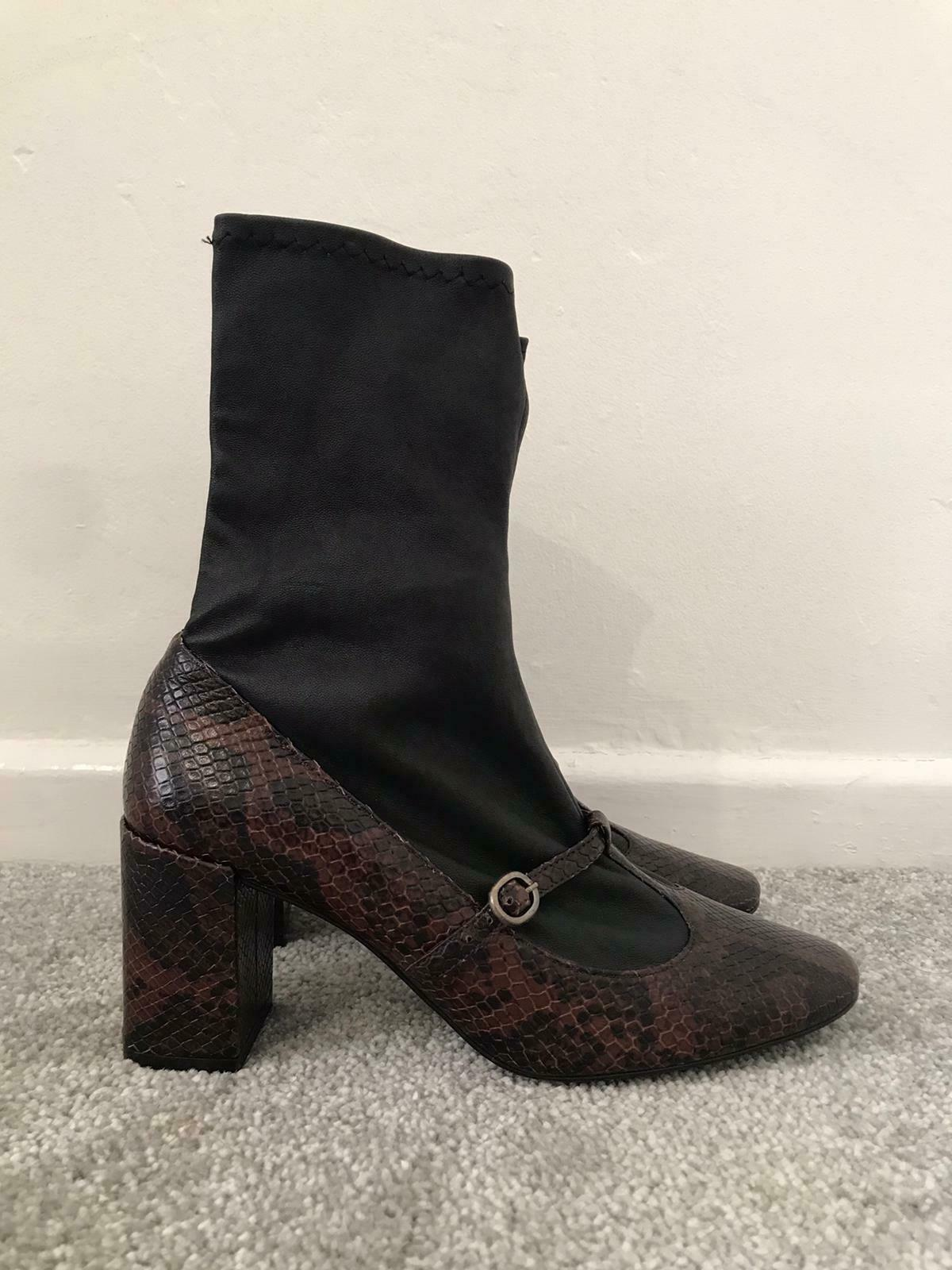 Zara Boots Size 4 Brown Snakeskin Calf Pull On Sock High Heel Boots EU 37