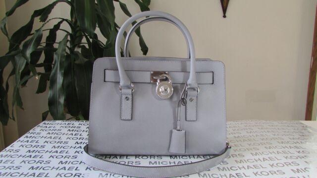 53feff125d9ec5 NWT Michael Kors Emma Saffiano Leather Satchel Handbag Crossbody Pearl Grey