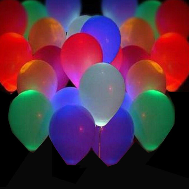 40 Pack LED Hellium Air Mixed Colors Balloons Wedding Light Up Decoration Party