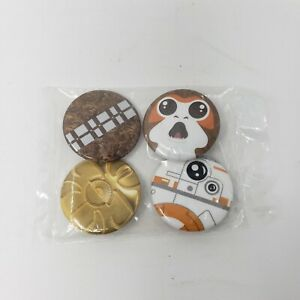 STAR WARS COLLECTIBLE set of 4 PINS Chewbacca Porg BB-8 C3PO NEW